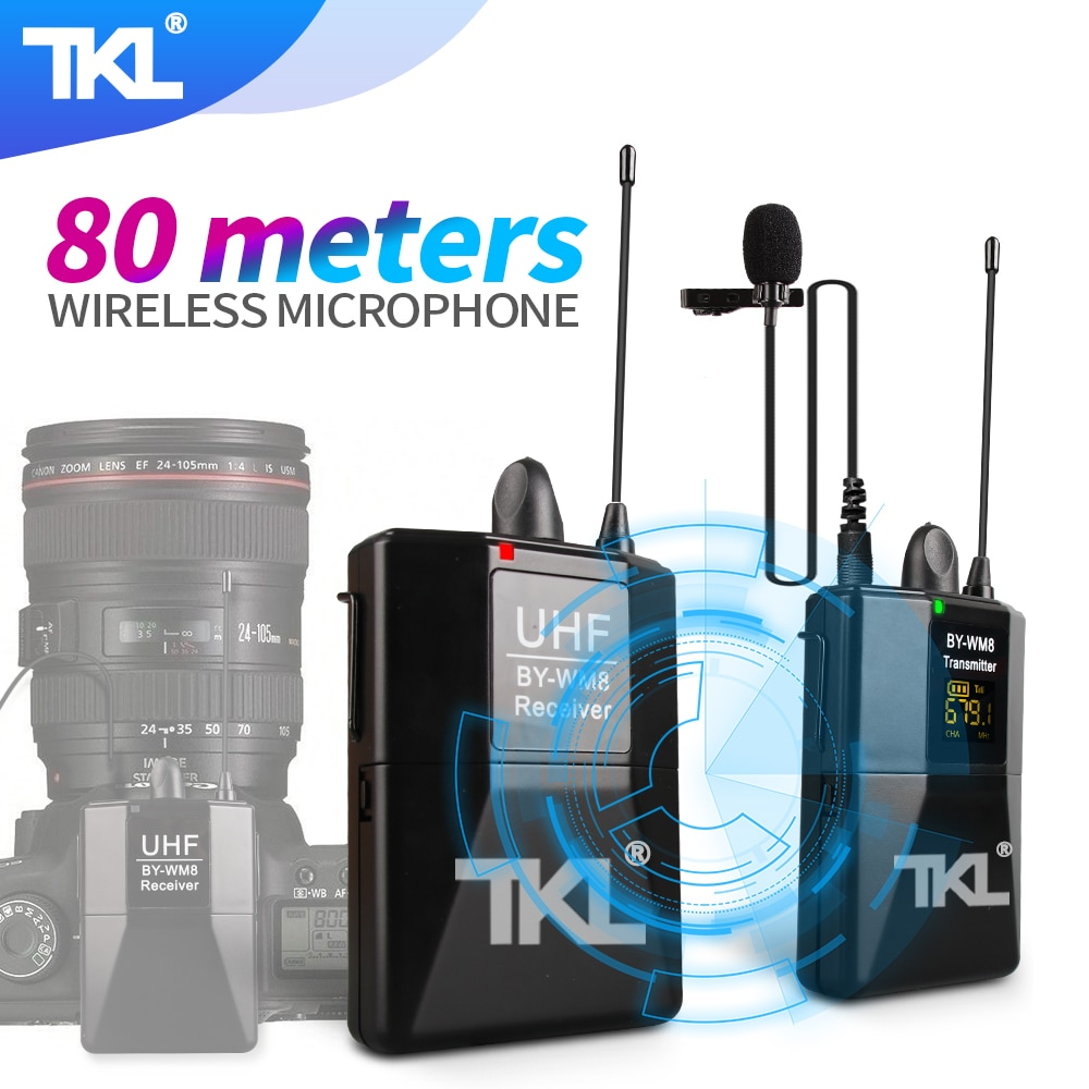 TKL WM8-ميكروفون لاسلكي احترافي ، UHF ، Super HD ، 519-550 ميجا هرتز ، تسجيل ، مسافة 80 متر ، استقبال
