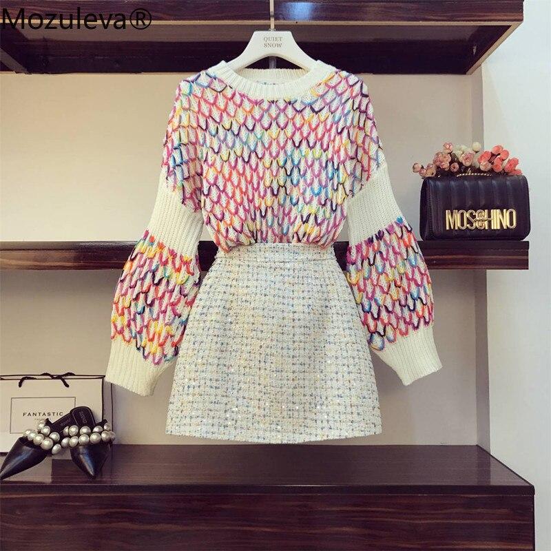 Mozuleva 2019 Otoño Invierno mujer Multicolor patrón de arco iris suéter suelto suéter + Tweed Mini falda conjunto de dos piezas trajes de niña