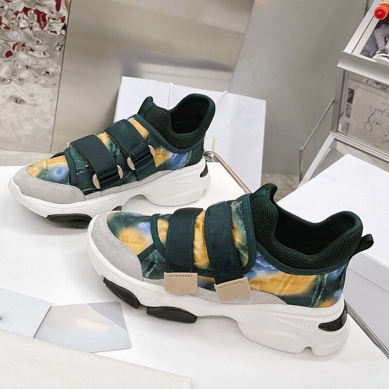 D Brand Luxury Shoes 2021 Spring New High Quality Hook Loop Camouflage Fashion Casual Sport Shoes Chunky Heel Women Sneakers