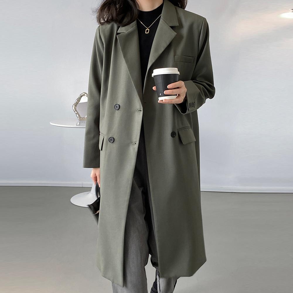 معطف عتيق طويل للنساء لعام 2021 معطف كبير الحجم بياقة مطوية وياقة طويلة ملابس خروج نسائية
