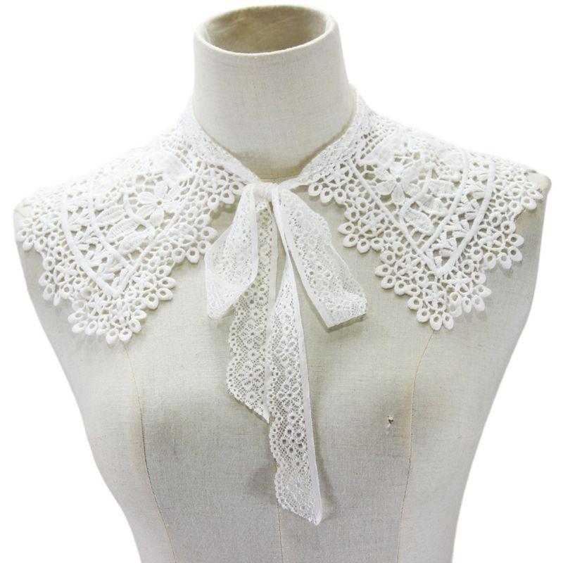 Estilo pastoral womens boneca colar falso oco laço floral meia camisa xale 649c
