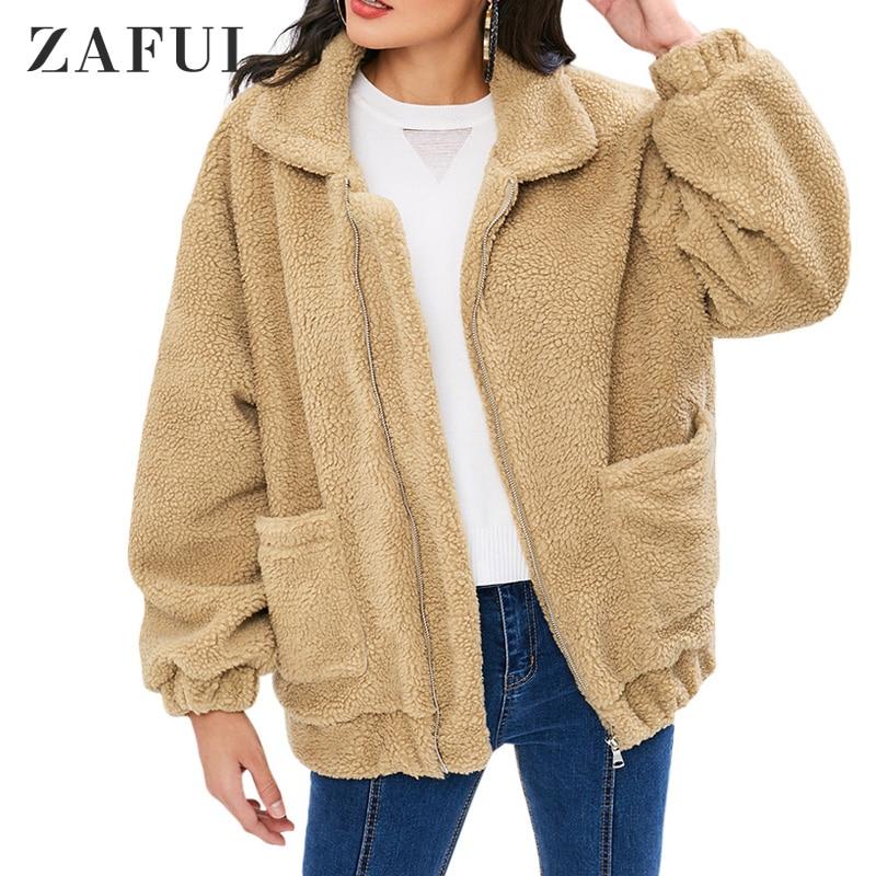 ZAFUL | المرأة الخريف الشتاء سترة قطن منفوش زمم تيدي معطف كم طويل المحاصيل سترة دافئة أبلى غير رسمية 2020