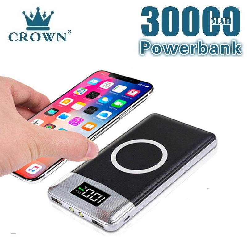 Qi Wireless Power Bank 30000mAh Charger External Battery For IPhone Samsung Huawei Xiaomi Wireless C