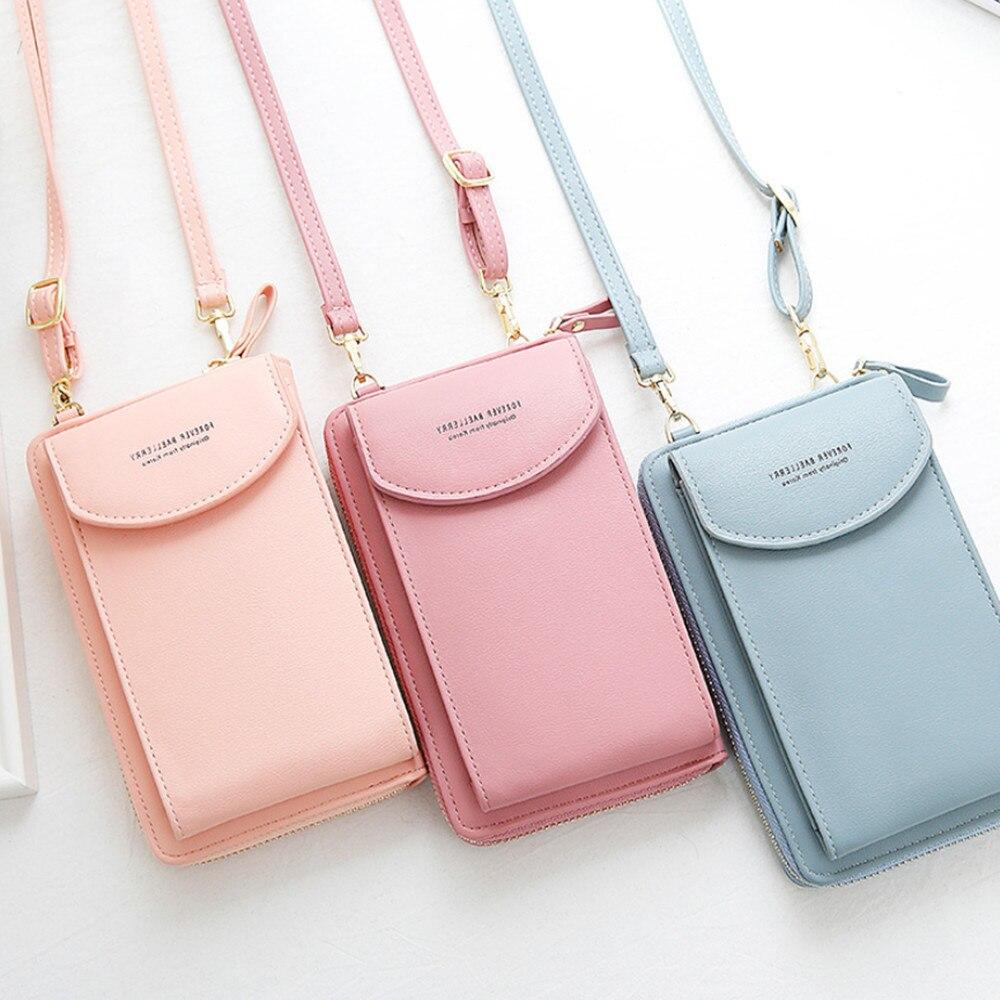 New Women Purses Solid Color Leather Shoulder Strap Bag Mobile Phone Bag Card Holders Wallet Handbag Pockets for Girls