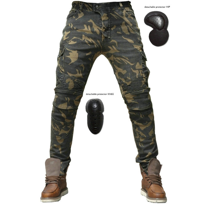 Motorcycle Camouflage Riding Pants Four Seasons Motorcycle Riders Casual Straight Slim Waterproof Moto Jeans With 4 Knee Pads four seasons riding tribe motorcycle pants with knee hip pad moto motocross trousers body armor m l xl 2xl 3xl 4xl