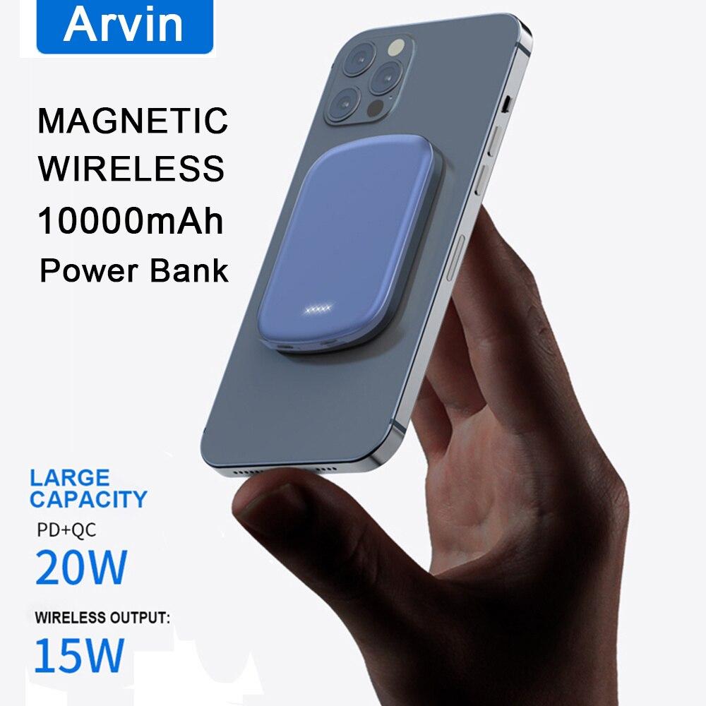 10000mAh باور بانك صغير 15 واط المغناطيسي سريع شاحن لاسلكي آيفون 12 Magsafing PowerBank المغناطيس بطارية خارجية ل شاومي