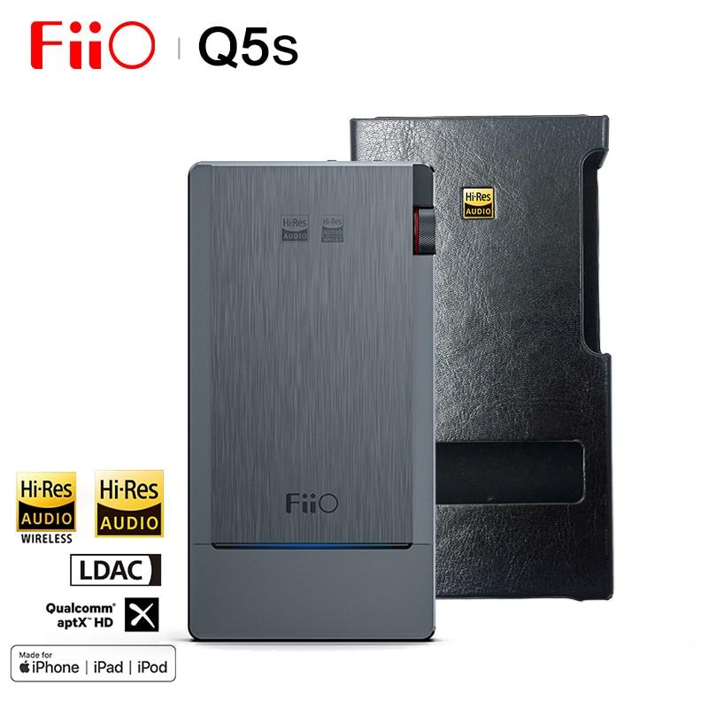 FiiO Q5s de Audio de alta fidelidad, Dual AK4493EQ Bluetooth 5,0 DAC auriculares amplificador de PCM 768 k/32bit DSD256/2,5/3,5/4,4mm para iphone