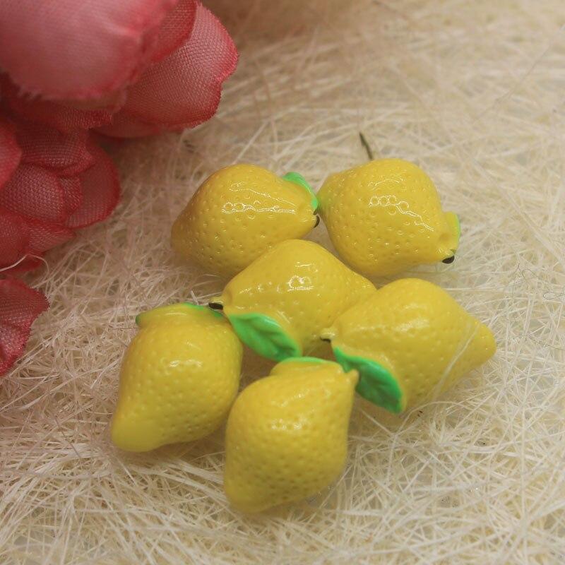 10/50 piezas DIY resina 3D miniatura amarillo limón encantos cabujón accesorios Kawaii simulación de fruta artesanía joyería hacer Decoración