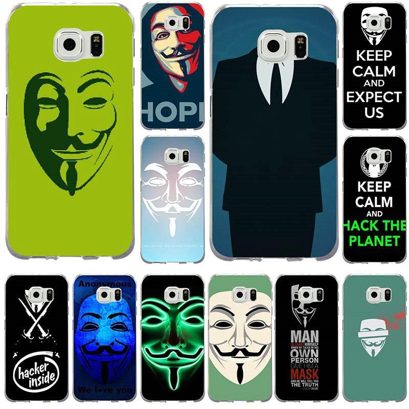 Suave TPU teléfono móvil Assassins para Samsung Galaxy Note 2 3 4 5 8 S2 S3 S4 S5 Mini S6 S7 S8 S9 Edge Plus patrón de máscara anónima