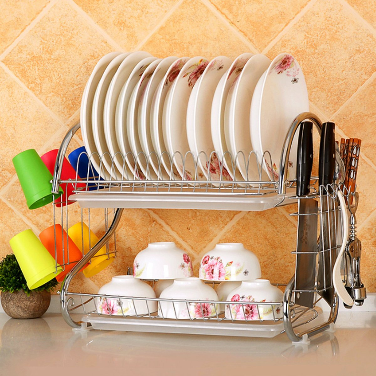 2 Tier Dish Rack Kitchen Storage Holder Drainer Stainless Steel Tableware Bowl Plate Cup Knife Drying Shelf Dinnerware Organizer