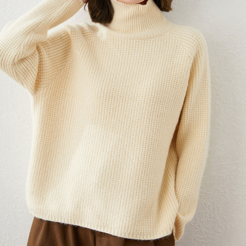 Suéter de cachemira para mujer, jersey de cuello alto sencillo, ropa exterior cálida, suéter de lana pura, tendencia informal, otoño 2021