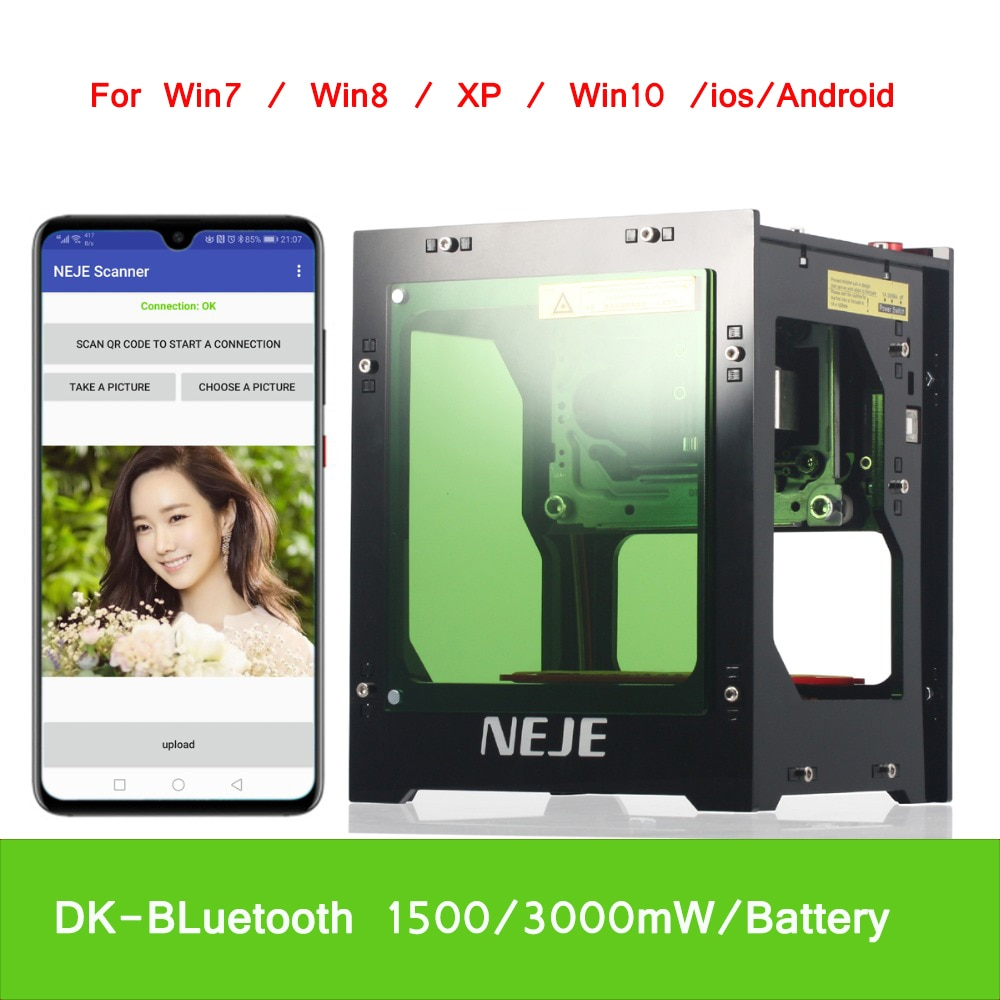 NEJE DK-BL 445nm 1500/3000mW de alta potencia DIY mini cnc bluetooth máquina de grabado láser para grabado de profundidad