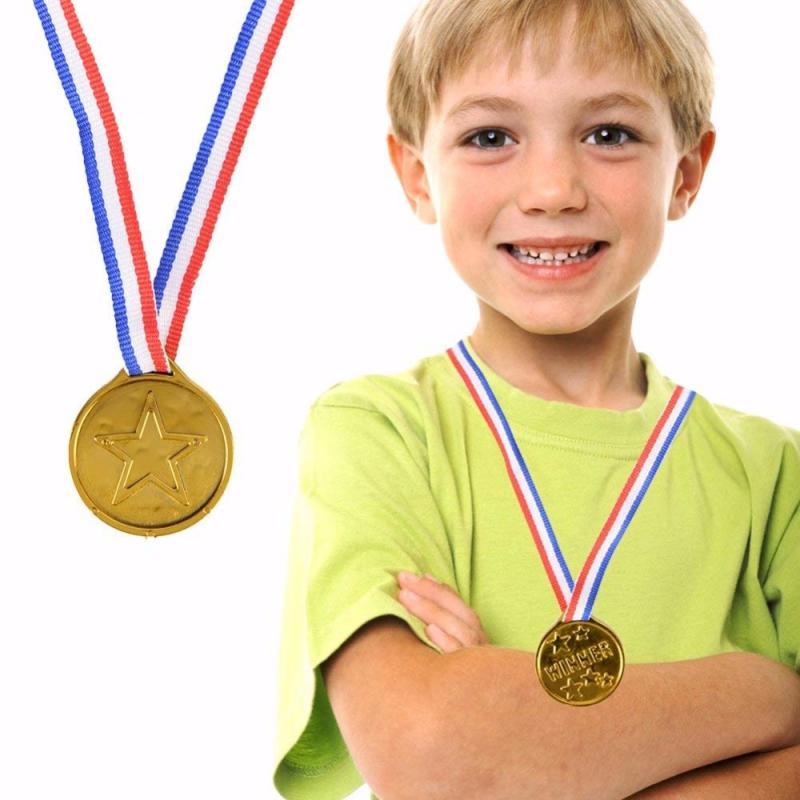 Пластиковые золотые медали для детей, награды с лентой