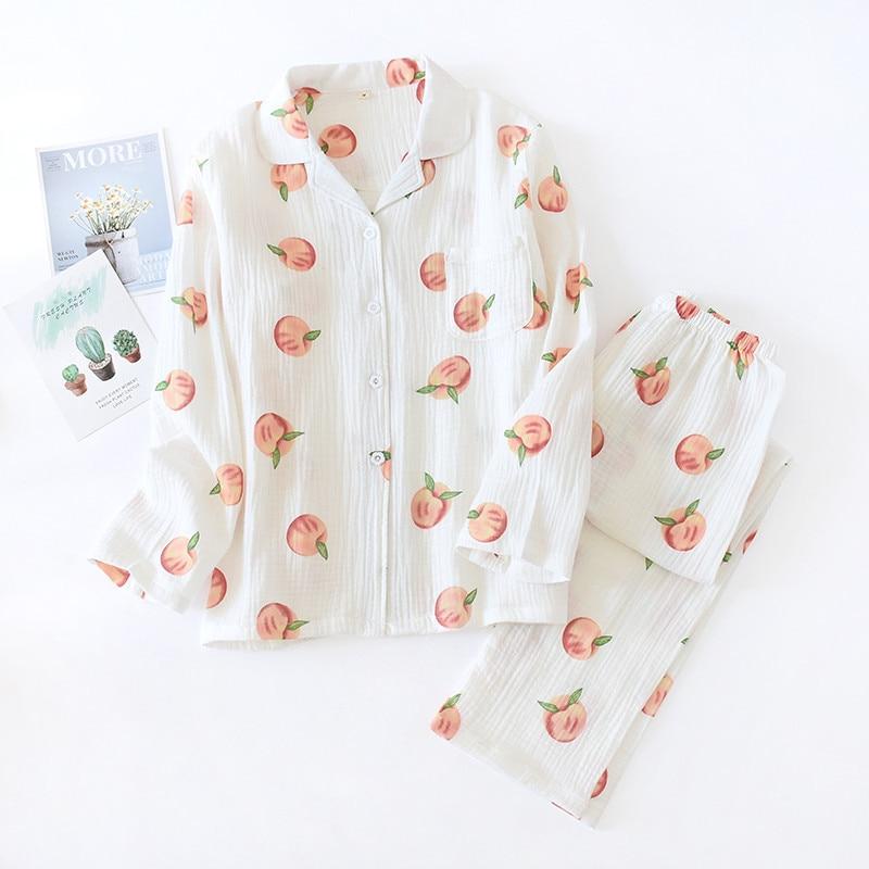 Пижама женская хлопковая с длинным рукавом, свободная рубашка из крепа персика, простой удобный комплект из двух предметов, домашняя одежда...