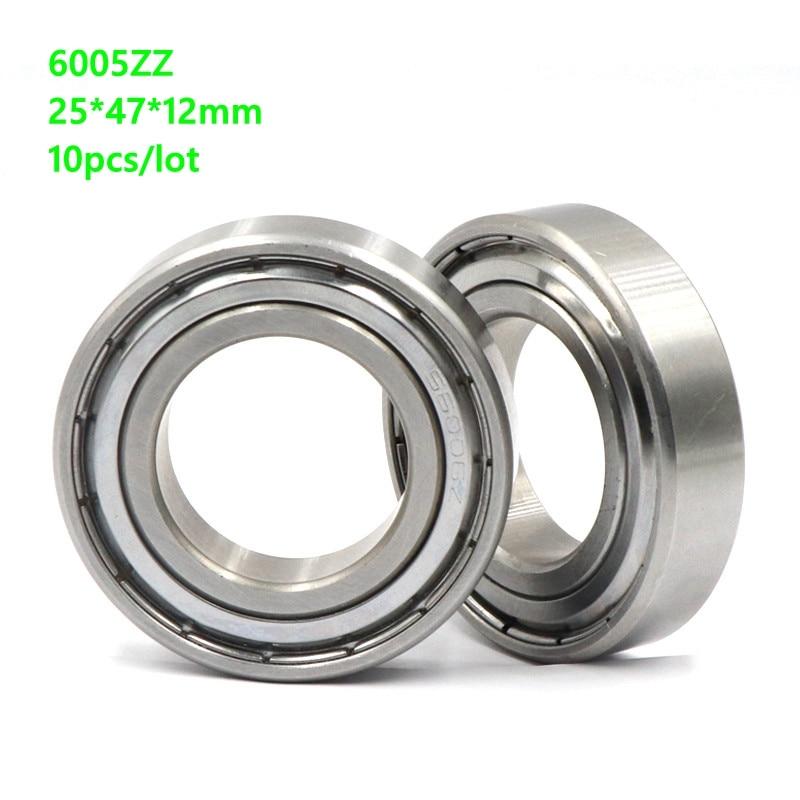 10 unids/lote 25x47x12mm 6005ZZ 6005Z 6005 Z ZZ 25*47*12mm rodamiento de bolas de doble ranura de metal