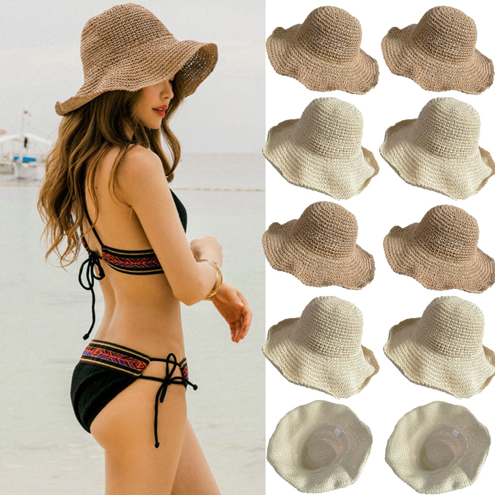 bucket hat women spring panama cap sun summer beach wide brim climbing holiday outdoor accessory Boho Style Bow Sun Hat Wide Brim Floppy Bucket Hats For Women Beach Panama Straw Dome Bucket Hat Holiday Shade Hat