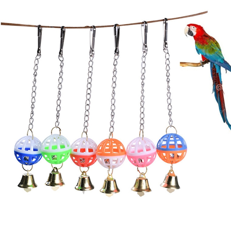 Divertido lindo loro juguetes mascotas pájaro periquito subir morder masticar con colgante campana giratoria Bola de juguete para mascotas suministros para periquito Cockati