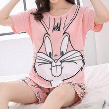 pijama feminino Pijama para mulher pijamas rosa conjunto de pijama coelho algodão dos desenhos animados bonito pijama cinza shorts colete terno das mulheres roupas de alta qualidade