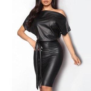 Faux Leather Dress Women Sexy Club Off Shoulder Bodycon Party Dress Fashion Solid Color Black Mini Dress Vestidos Size:S-XL#J30