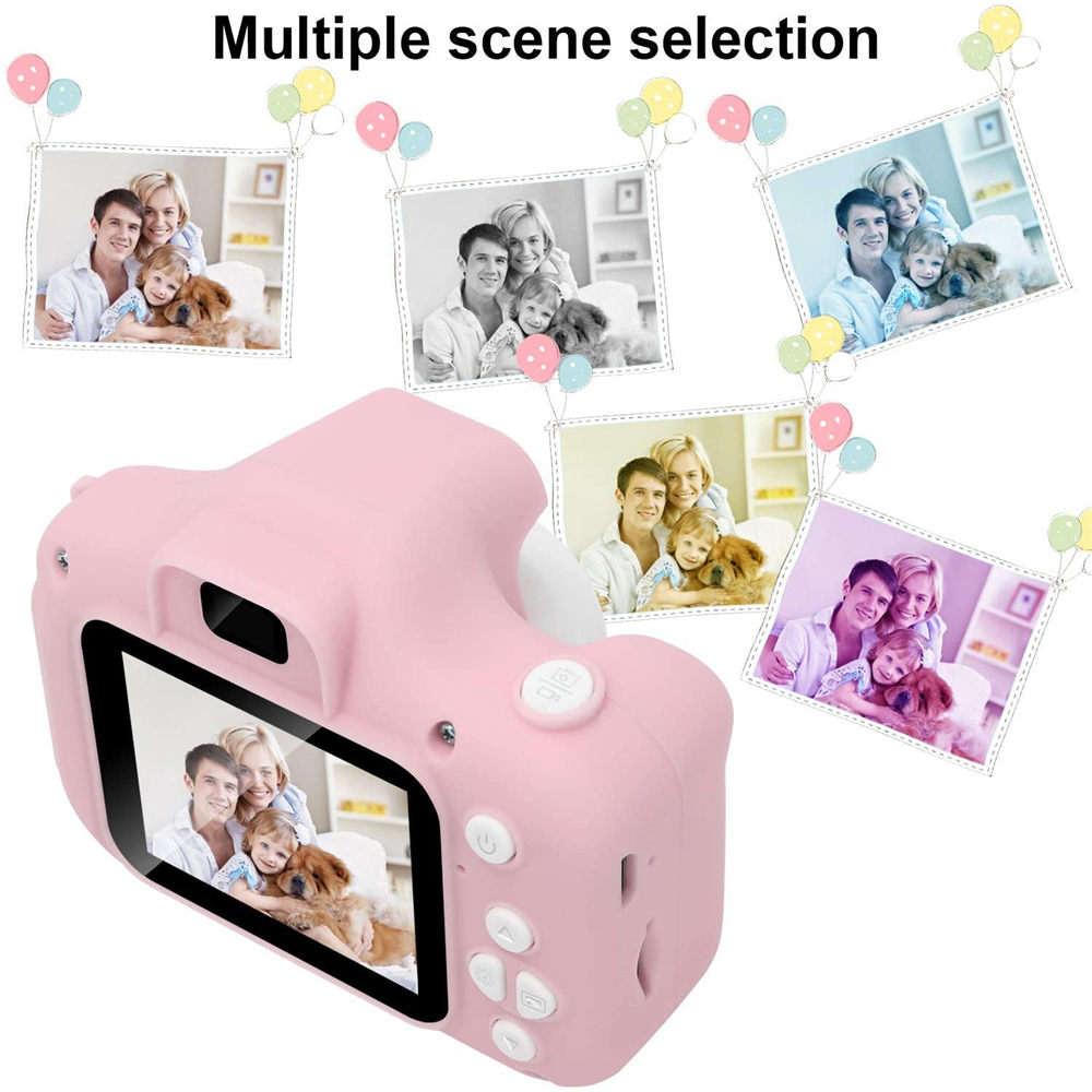 "Children Mini Camera  Pink Kids Digital HD Camera 2"" Color Display Children Birthday Gift+16GB SD Card Game Study Camera"