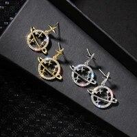 new fashion creative zircon celestial body dangle earrings for women star jewelry