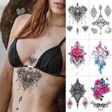 Waterdichte Tijdelijke Tattoo Sticker Pistool Bloem Vlinder Lotus Pioen Flash Tatoeages Kant Henna Body Art Arm Nep Tatoo Vrouwen Mannen