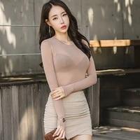 summer fashion round neck tops long sleeve cotton t shirt slim t shirt women 2021 basic korean tees sexy thin t shirt see throug