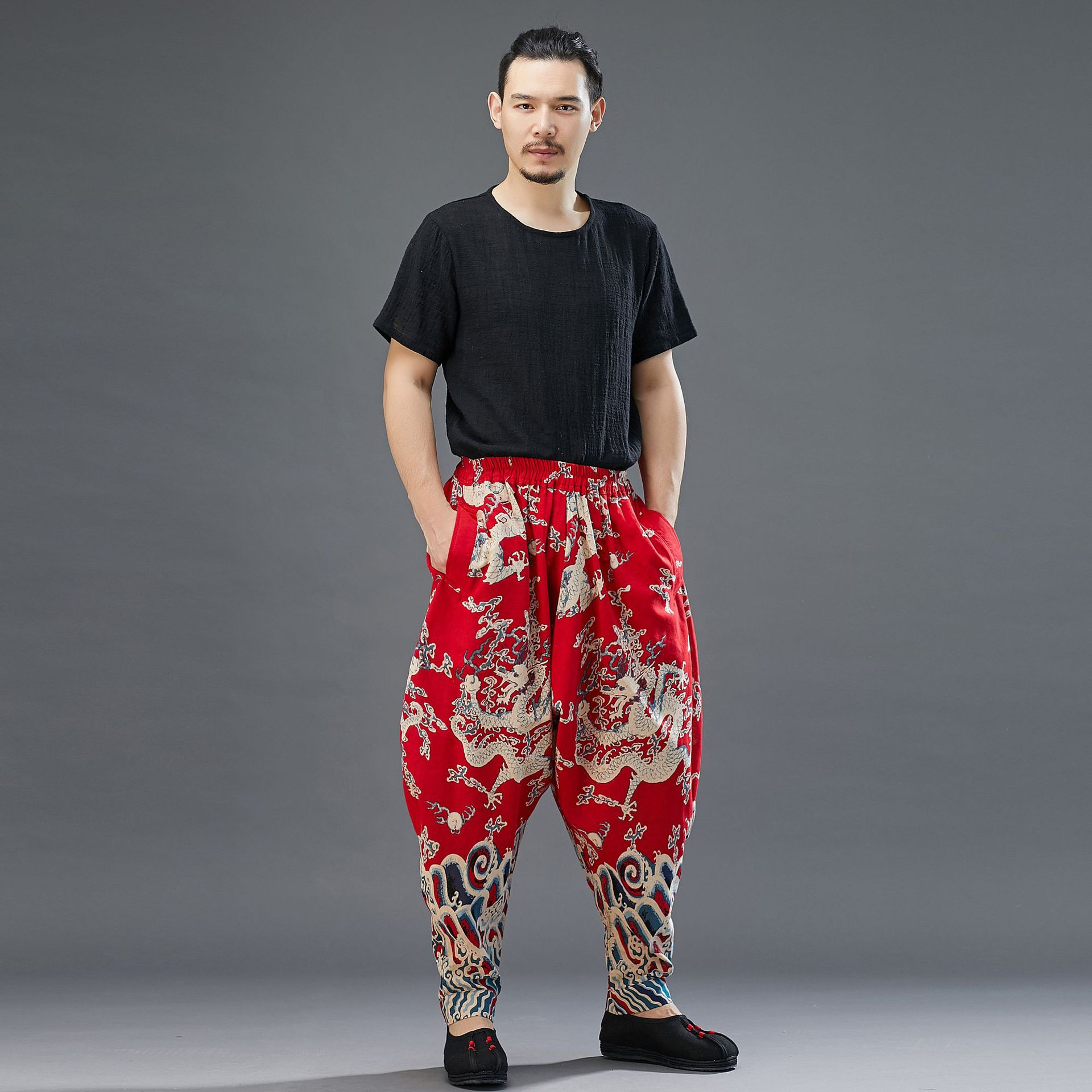 Pants Dragon Design Chinese-Style Cotton Linen Printing Loose Back Rise Width Trousers Robe Hanfu Costume