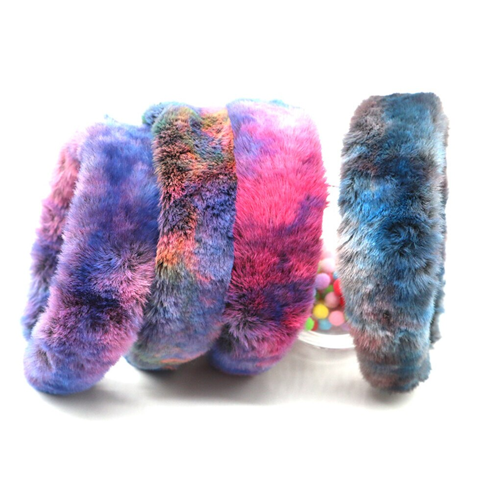 Autumn And Winter Retro Imitation Rabbit Fur Colored Hairhoops Headbands For Women Girls Trendy  Hair Accessories Headwear