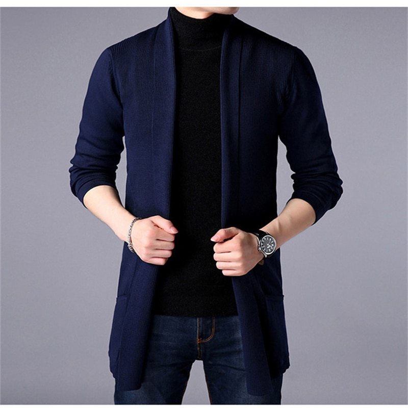 2021 Spring New Young Men's Solid Color Bottoming Shirt Korean Long-Sleeved Lining Shirt Men's Slim Long Cardigan Sweater Jacket