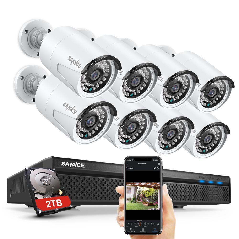 SANNCE 8CH POE 5M NVR كيت CCTV الأمن نظام 2MP IR في الهواء الطلق للماء IP كاميرا مع Mic الصوت سجل فيديو مراقبة مجموعة