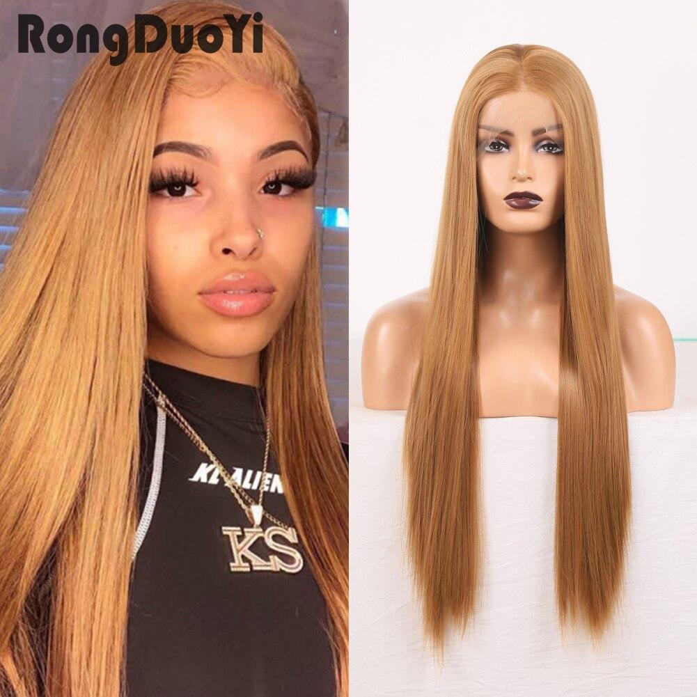 Синтетический кружевной передний парик, длинный шелковистый женский парик для косплея из естественных волос, высокая температура, средняя ...