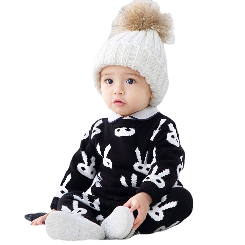 Autumn Winter Baby Boys Sweater Pants Sets Infant Toddler Knit Casual Cotton Outfits Tops Trousers Suits Cartoon Clothes For Kid