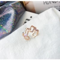 simple personality new geometric wave ring womens rose gold silver color ring adjustable double zircon ring