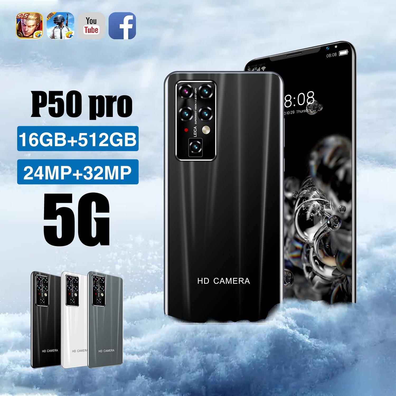 Cheapest Smart Phone P50 Pro 16GB+512GB 5.5 Inch Full Screen Smartphone 24MP+32MP Camera 5000mAh  Cell Phone Global Version