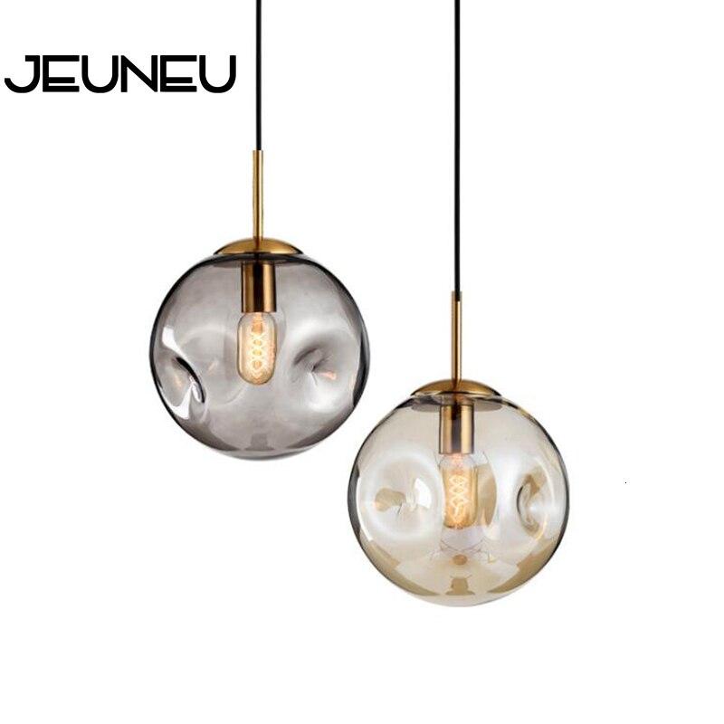 Nordic Modern Pendant Light LED E27 Glass Ball Hanging Lamp with 2 Colors for Living Room Restaurant Bedroom Lobby Kitchen