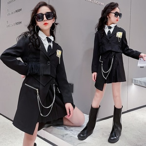 Cool Girls Clothes Sets Black Suit Coats Short Jacket Chain Pleated Skirt White Shirt Street Uniforms Teens Girl Hip hop Outfits