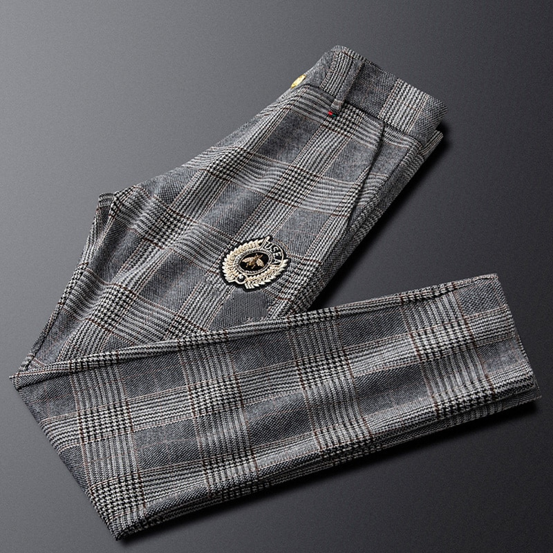 2021 autumn new pants men's sanded casual pants Slim feet straight gray plaid trousers handsome and versatile