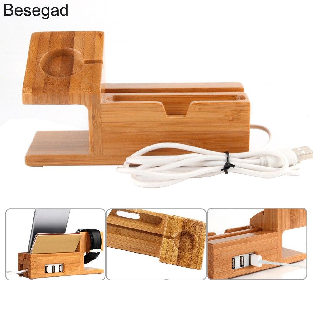 Besegad бамбуковая зарядная станция, док-станция, держатель с 3 usb-разъемами для Apple Watch iWatch iPhone 8X7 6 6s Plus