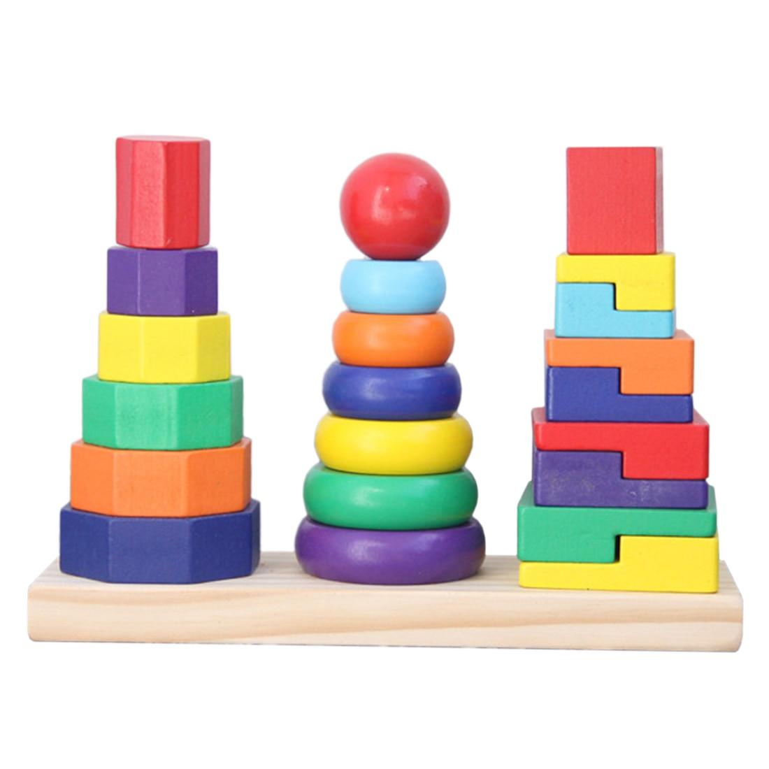 3 columnas, bloques geométricos de madera, Color de Torre apilable y forma de juguete cognitivo para niños, bloques de madera para regalo de niños