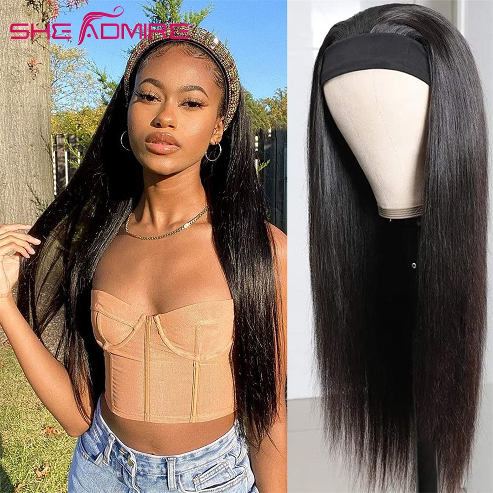 Straight Headband Wig Remy 28 inch Human Hair Wigs SheAdmire Affordable None Lace Glueless Full Mach