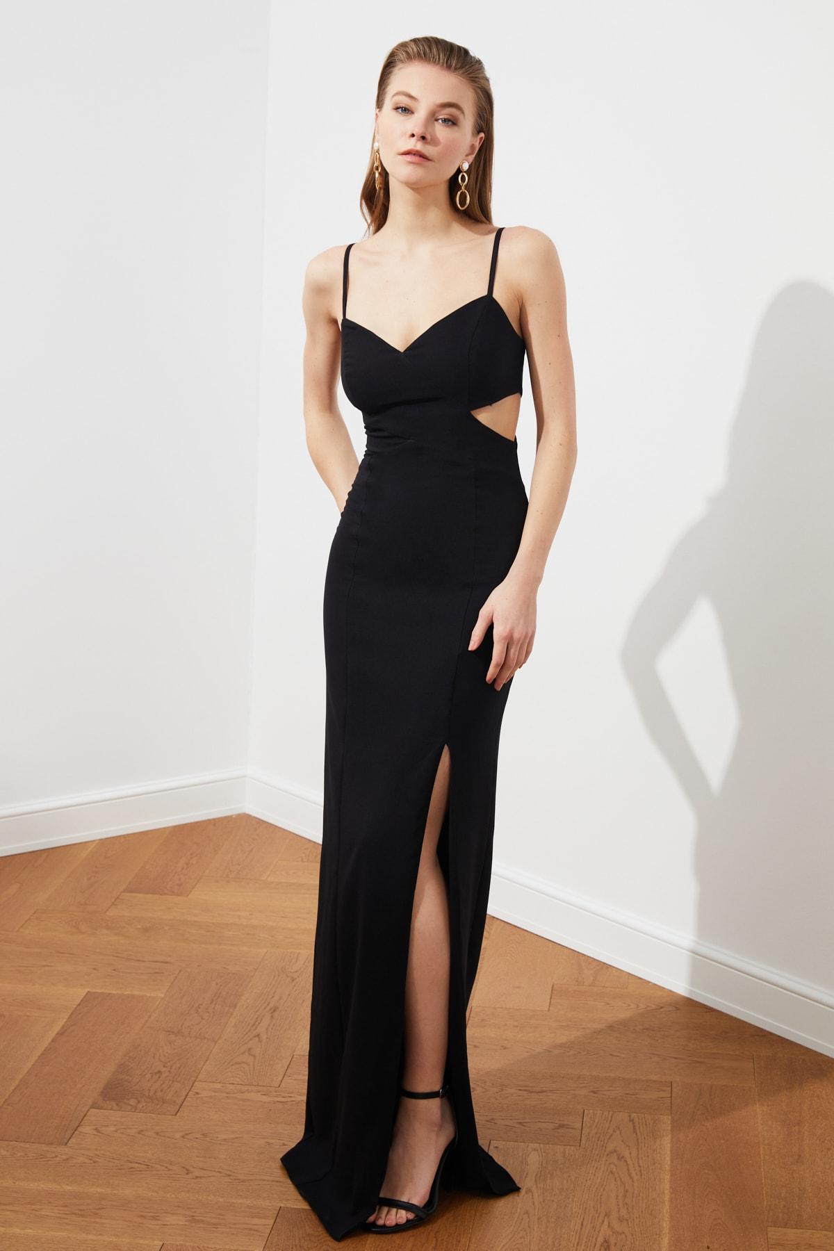 Evening dress Black Low-Cut Detailed Evening Dress фото