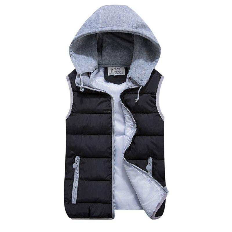 2019 mujeres Otoño Invierno chaleco Rosa negro cálido algodón Wadded con capucha con cremallera chaleco más tamaño 3xl Casual Chaqueta corta