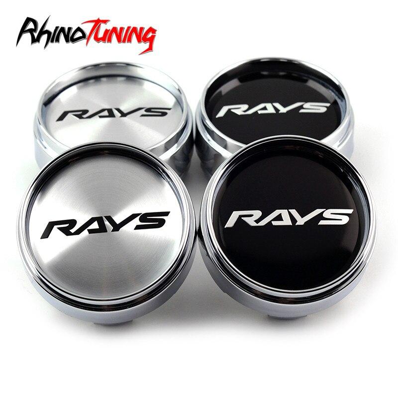 4pcs 66mm Silver Car Wheel Center Hub Caps Rays Emblem For Rays Volk Racing Wheel