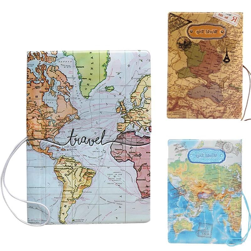 Mapa del mundo de la moda 3D Passport Cove pasaporte de viaje funda, soporte de tarjeta de identificación de crédito de almacenamiento de hombres y mujeres PU cuero organizador billetera