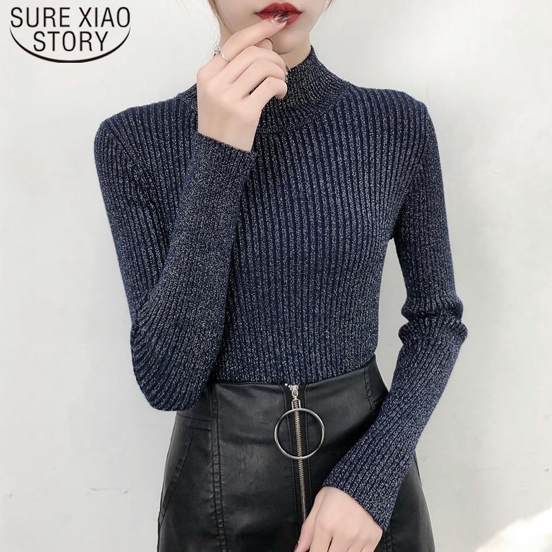 Suéter de Seda brillante de manga larga de otoño, suéter de sudadera Coreana de cuello Semi alto, suéter grueso de mujer ajustado de color sólido 6040 50
