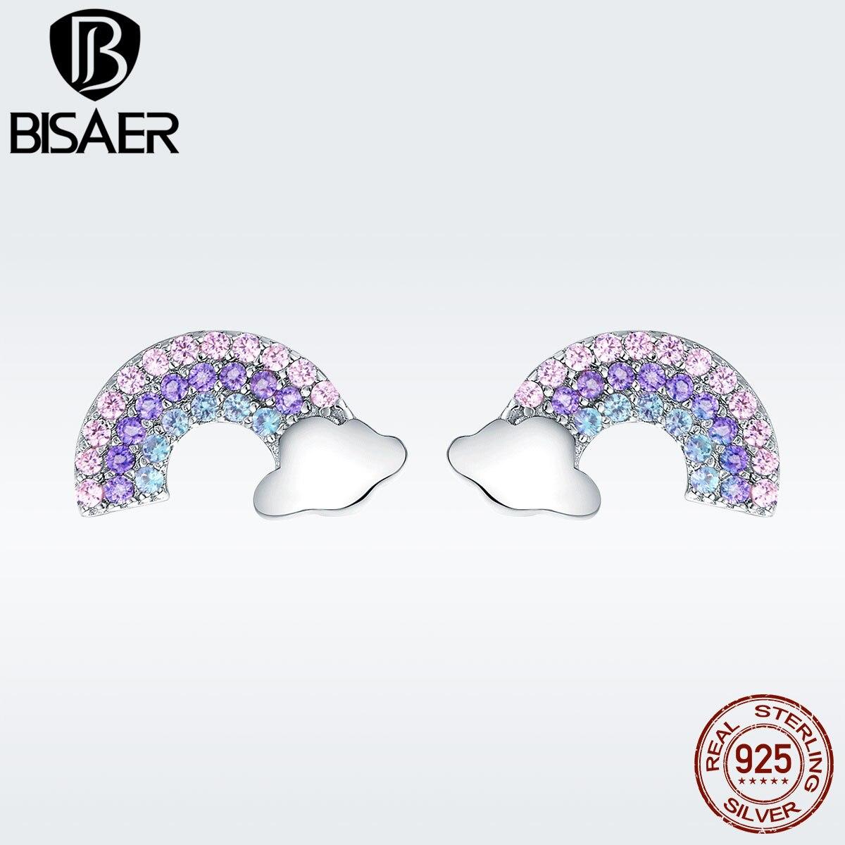 BISAER, pendientes de plata de ley 925 con diseño de arcoíris y nubes para mujer, aretes pequeños de Zirconia cúbica para niña, modo 2019, GXE578