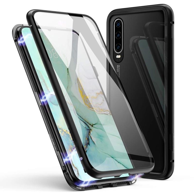 Funda magnética para Huawei Honor 20 10 Lite Pro 9X 8X doble cara vidrio templado cubierta de Metal para Honor View 30 20 P Smart Z funda