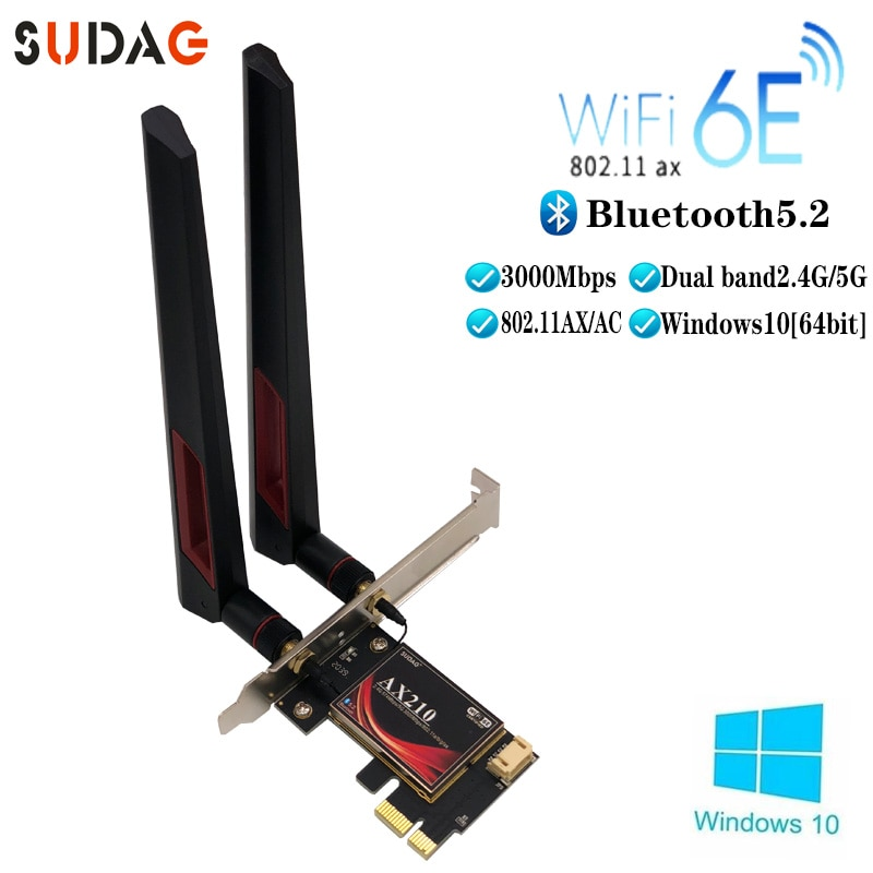 3000Mbps ثنائي النطاق إنتل AX210 واي فاي 6E اللاسلكية PCI-Express محول بلوتوث 5.2 سطح المكتب بطاقة الشبكة 2.4Ghz/5Ghz 802.11ax/التيار المتناوب