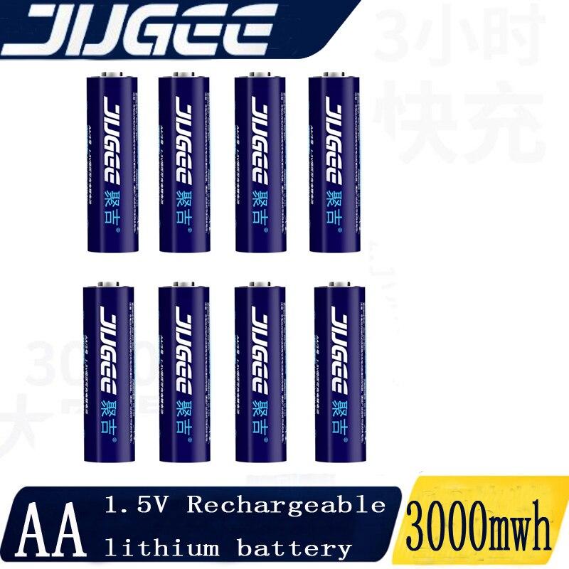 Jugee 8 Uds 1,5 v 2000mah litio AA usb recargable 3000mWh li-polímero li-ion batería de litio sin cargador